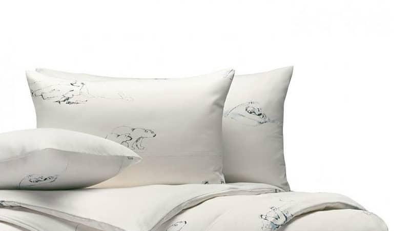 Cotonea Bettbezüge aus Edelbiber-Satin in BIO Qualität mit Eisbär Motiv Größe 80 x 80