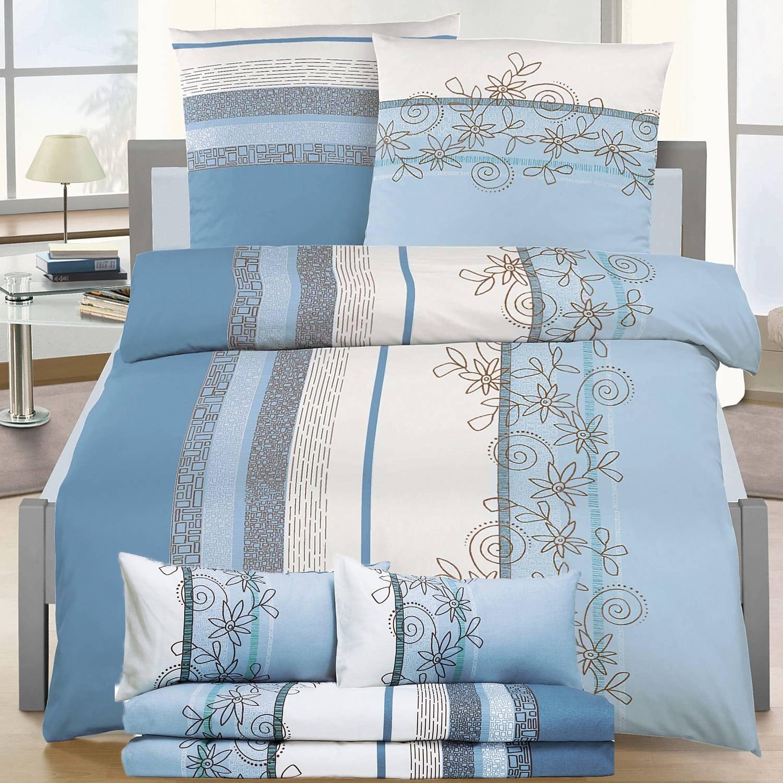 """Biber Bettwäsche """"Fleur Bleue"""" 155×220 cm"""