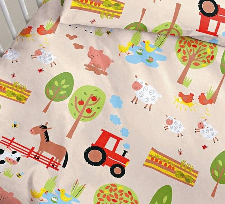 Kinderbiber Bettwäsche Bauernhof mit Traktor, Pferden, Schafen, Schweinchen