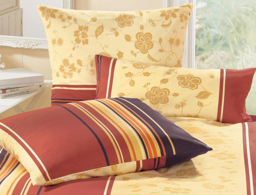 Biber Bettwäsche mit Streifen und Blumen