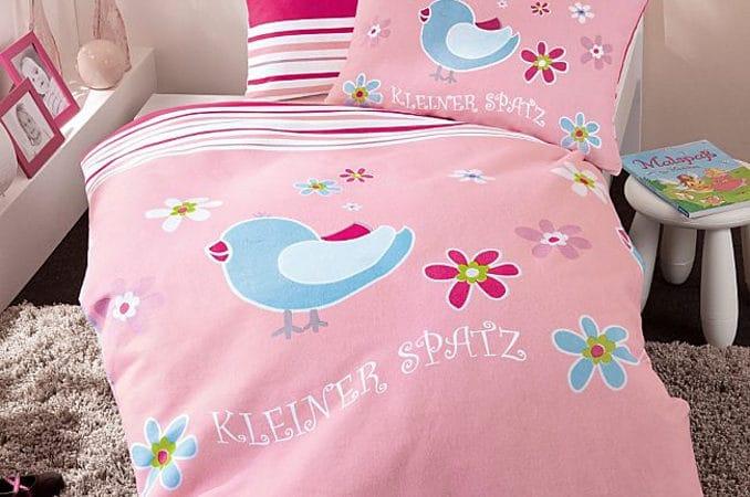 Biber Bettwäsche 100x135 Kleiner Spatz-pink