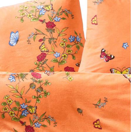 Biber Bettwäsche 135x200 Blumenwiese mit Blümchen und Schmetterlingen