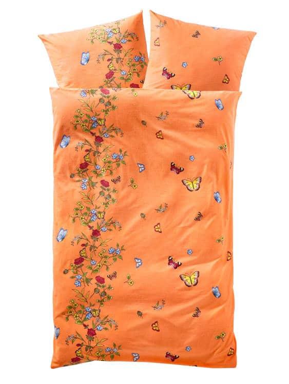 Biber Bettwäsche 135x200 Blumenwiese mit Blümchen und Schmetterlingen auf orangen Untergrund-Set