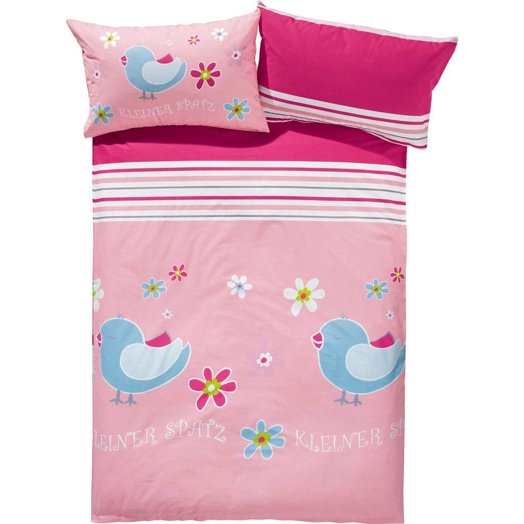 Biber Bettwäsche 100x135 Kleiner blauer Spatz auf rosa Untergrund