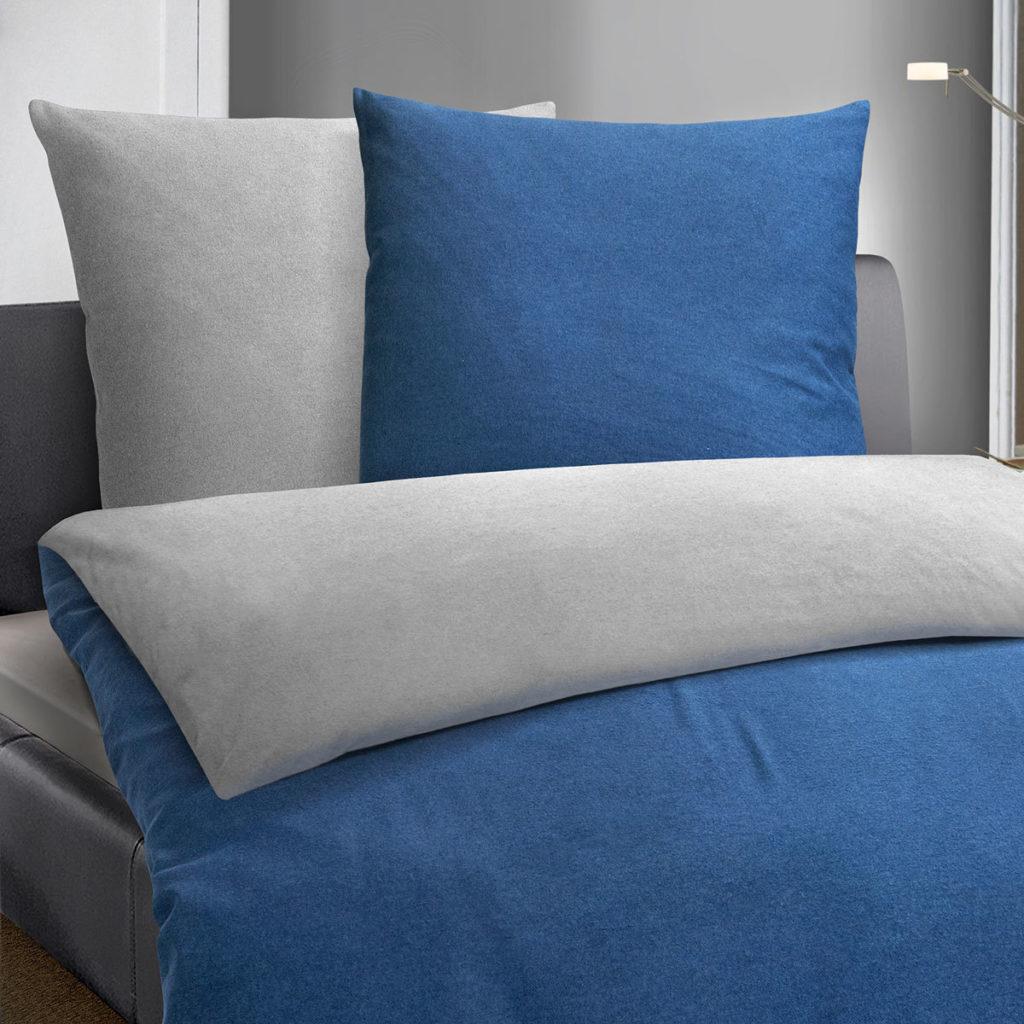 Biber Bettwäsche Melange Blau/anthrazit