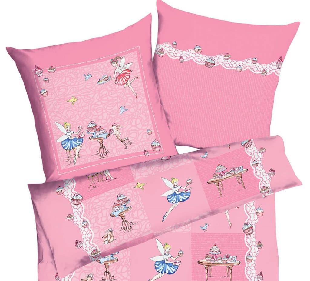 Feinbiber Kinderbettwäsche rosa Cupcake-Elfen