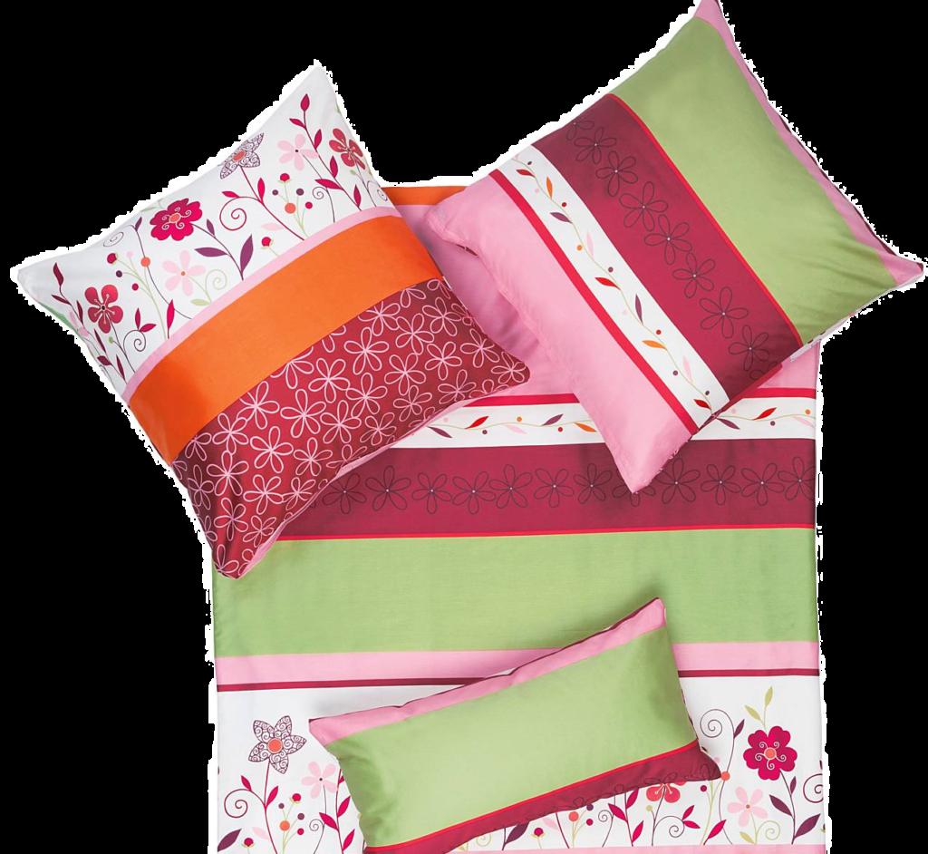 Bettwäsche in Biber mit großen Kopfkissen Pink Flower