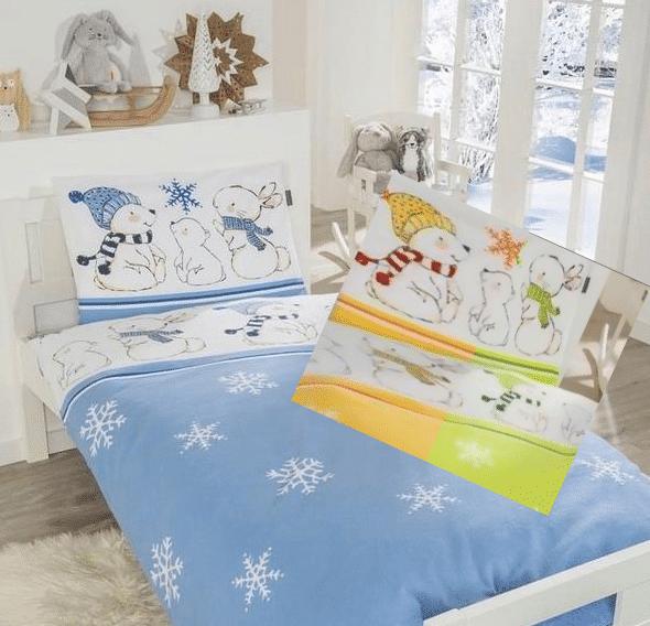 Dri Farben Schneeflocken Bettwäsche in Feinbiber