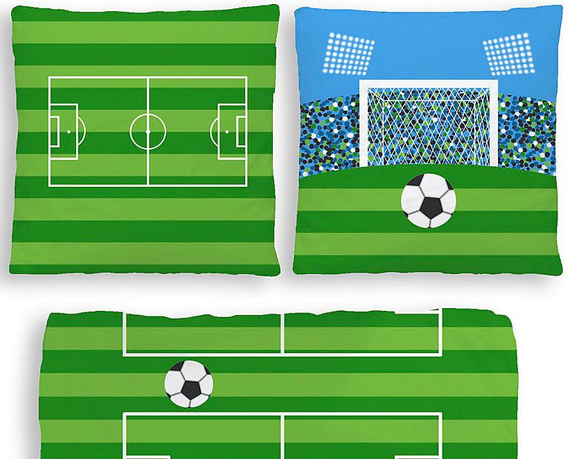 Fussball Biberbettwäsche mit Wendekopfkissen