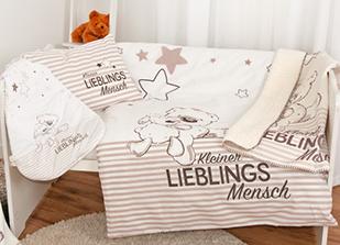 """Babybettwäsche """"Kleiner Lieblingsmensch"""" 80×80 cm"""